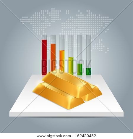 Gold Price Concept. Gold Price Falling Down Graph With World Map Background.