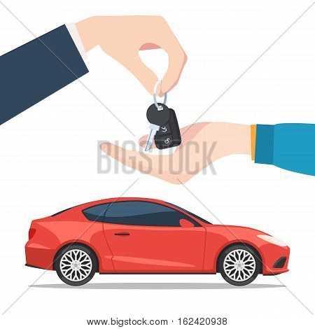Hand the seller gives the car keys to the buyer. Buying or renting the new red car. Vector illustration in trendy flat style isolated on white background for your web banner design or print marketing materials