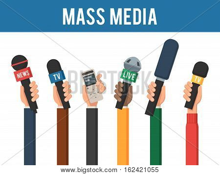 Hands with a MIC and recorder. Mass media interview concept. The reporters of news channels. Vector illustration in trendy flat style, isolated on a white background