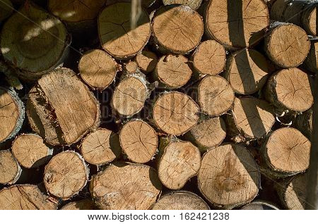 Background of dry chopped firewood logs stacked up on top of each other in a pile