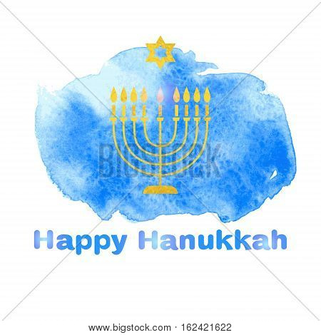 Happy Hanukkah background with menorah on a watercolor background blue spot. Vector illustration.