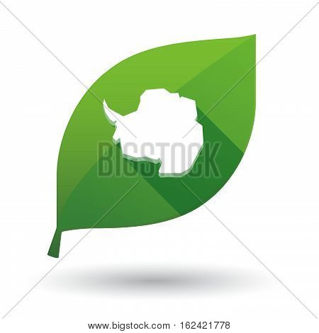 Isolated Green Leaf With  The Map Of  Antarctica