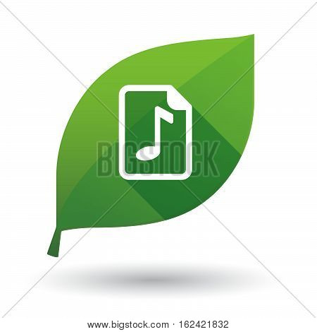 Isolated Green Leaf With  A Music Score Icon