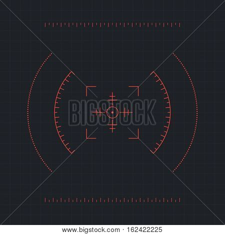 Red futuristic crosshair on dark background. Interface Element. Vector illustration
