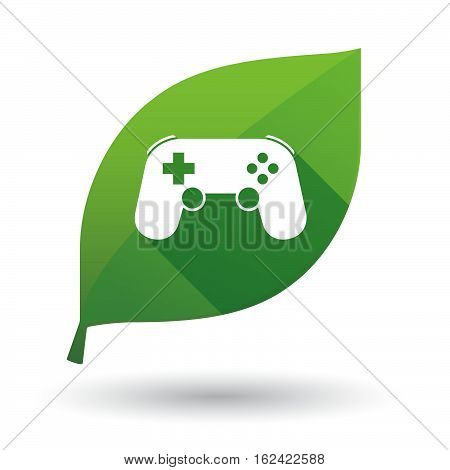 Isolated Green Leaf With  A Game Pad