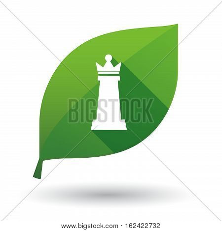 Isolated Green Leaf With A  Queen   Chess Figure