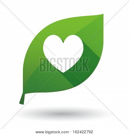 Isolated Green Leaf With  The Heart Poker Playing Card Sign
