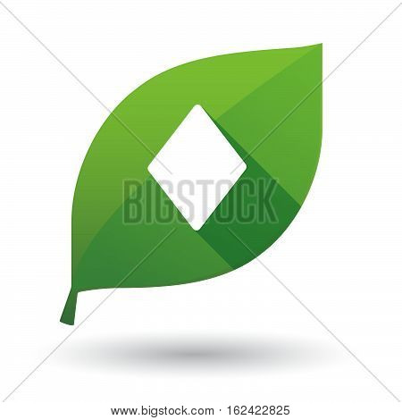 Isolated Green Leaf With  The  Diamond  Poker Playing Card Sign The  Diamond  Poker Playing Card Sig