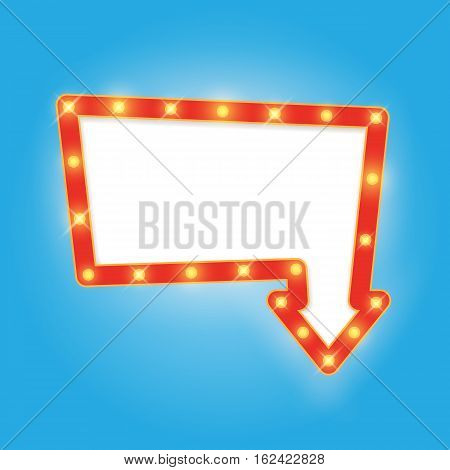 Signboard in arrow down, retro-style banner with lamps. Vintage frame with light bulbs. Neon glow frame. Vector illustration