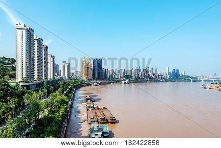 A bird's eye view of Chongqing's urban landscape and the Yangtze River Sichuan China.