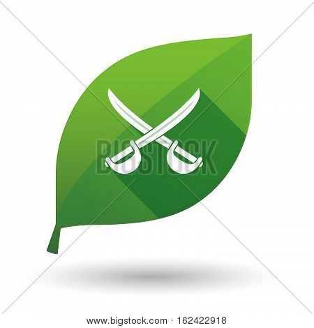 Isolated Green Leaf With  Two Swords Crossed
