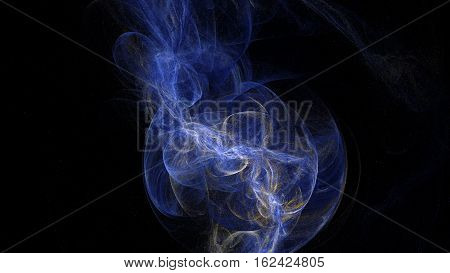 Blue curves and waves abstract background in dark