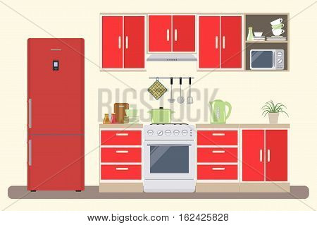 Kitchen in a red color. There is a furniture, a stove, a refrigerator, a microwave, a kettle and other objects in the picture. Vector flat illustration