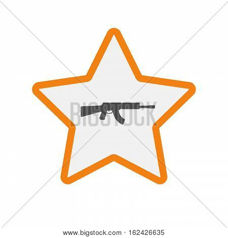 Isolated Star With  A Machine Gun Sign