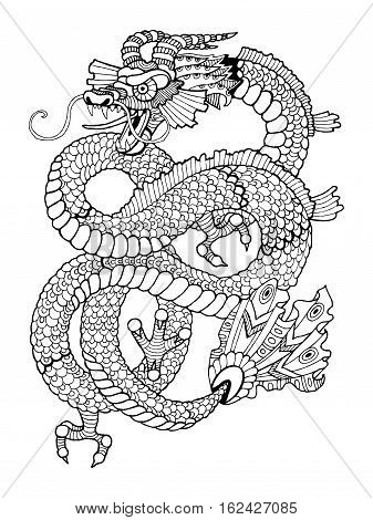 Dragon coloring book for adults vector illustration. Anti-stress coloring for adult. Tattoo stencil. Zentangle style. Black and white lines. Lace pattern