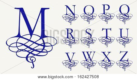 Vintage Set 2. Calligraphic capital letters with curls for Monograms and Logos. Beautiful Filigree Font. Baroque style.