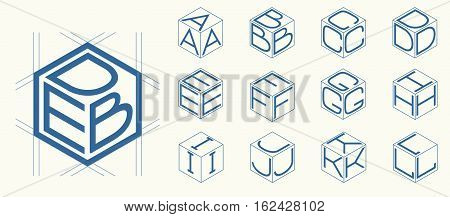 Set 1 template of the letters inscribed in the three sides of the cube, hexagon. To create monograms, logos and emblems
