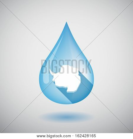 Isolated Water Drop With  The Map Of  Antarctica