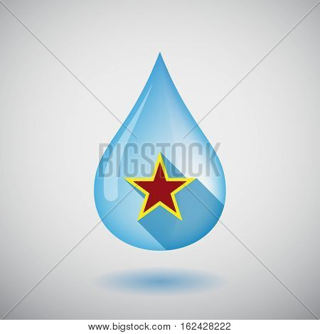 Isolated Water Drop With  The Red Star Of Communism Icon