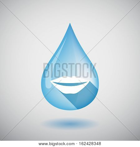 Isolated Water Drop With  A Female Mouth Smiling