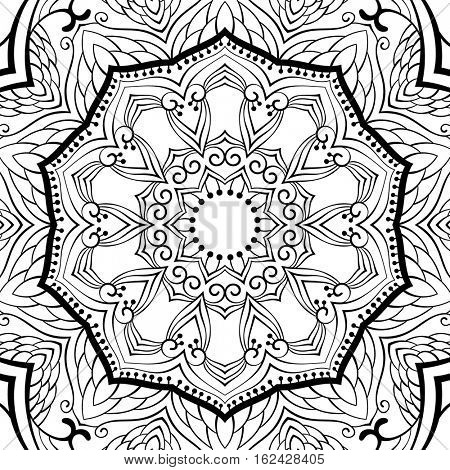 Ornamental background for coloring book Vector illustration in black and white