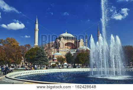 ISTANBULTURKEY - OCTOBER 2 2014: Haghia Sophia - famous church and mosque in Istanbul