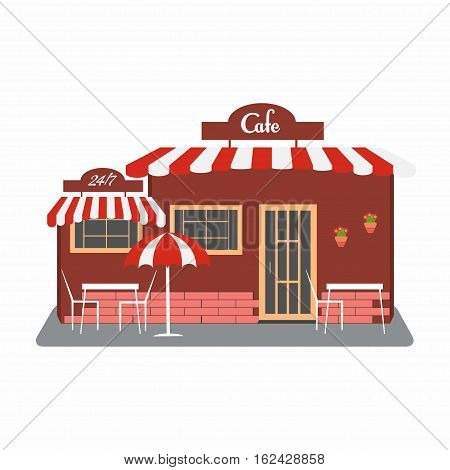 Cafe street bistro building facade. Small building with roof tables umbrella flowers. You can simply change size text on signboard. Vector illustration