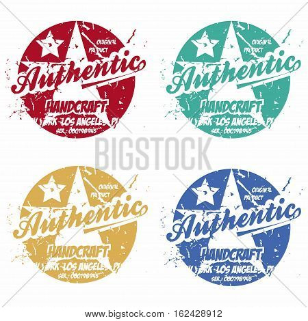 Set of authentic prints apparel in different colors. Stamp for shirt raglan sweatshirt. Fashion typography classic style print label. Vector illustration