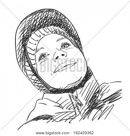 Sketch of young girl wearing bicycle helmet Bottom view Hand drawn Vector illustration