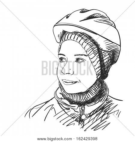 Sketch of young girl wearing bicycle helmet, Hand drawn Vector illustration