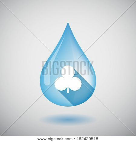 Isolated Water Drop With  The  Club  Poker Playing Card Sign