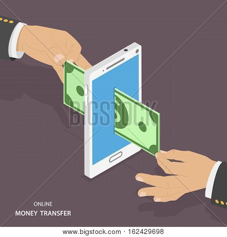 Online money transfer isometric vector illustration. One hand is pushing the banknote inside the smartphone and the other hand is pulling it out from the back side. Wireless payment, mobile banking.