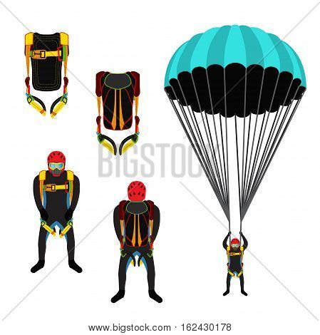 Skydiving school academy set. Parachutist extreme sport skydiver. Illustration for skydivers club paragliding company Flat style
