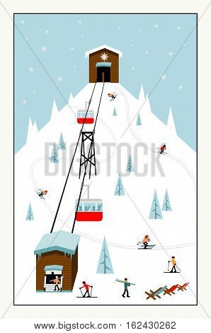 Cool pastel Cartoon ski poster. The mountain resort with ski lifts, slopes, skiers.