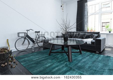 Students bicycle in a modern living room interior with large view windows and a comfortable modular grey couch over old broad floorboards with a loose blue rug, 3d render