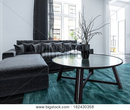 Comfortable living room in an urban apartment with long bright windows leading to a patio and comfortable upholstered modular lounge suite with modern coffee table, 3d rendering