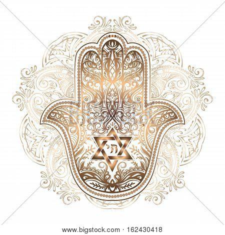 Elegant hand drawn Isolated raditional Jewish sacred amulet and religious symbols - Hamsa or hand of Miriam palm of David star of David Rosh Hashanah Hanukkah Shana Tova