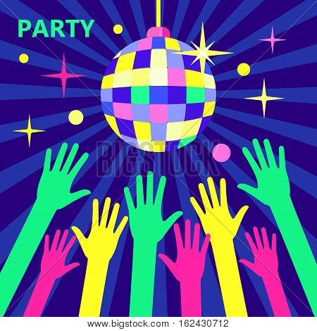 A crowd of people dancing in a nightclub or disco arms raised up to the sparkling disco ball. Concept for parties and music festivals. Shining disco ball illustration in a flat style. Bright party.