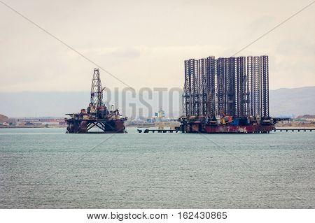 Oil Tanker And Platform On Caspian Sea