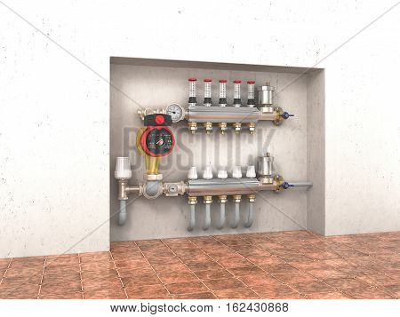 Collector manifold heating system for underfloor heating in the wall. 3d illustration