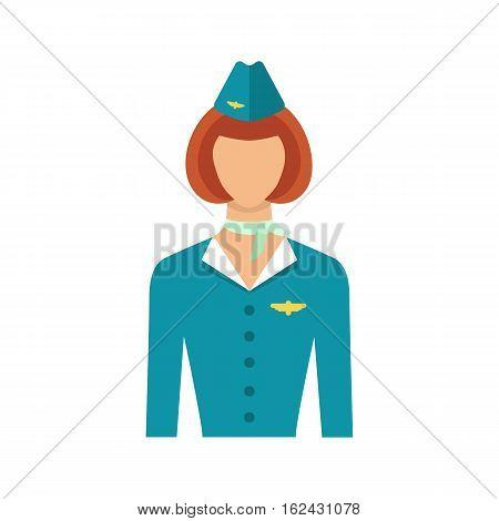 Stewardess isolated on white background. Vector illustration of stewardess in blue uniform flat icon.