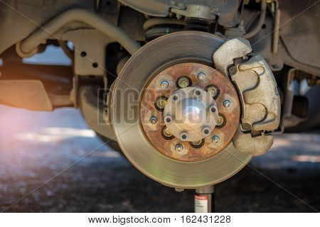 Remove the wheel to repair the brake system.