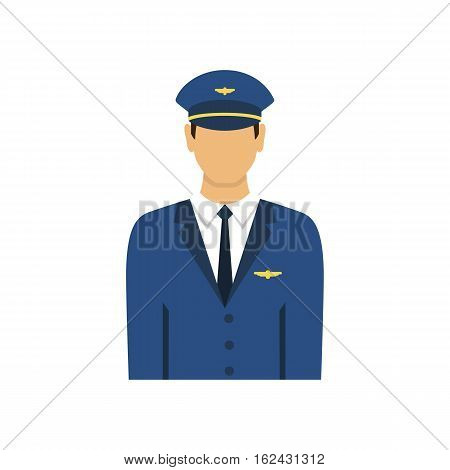 Pilot in uniform flat design style isolated on white background. Avatars pilot. Vector illustration.