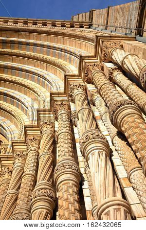 LONDON, UK: Architectural detail of the entrance of the Natural History Museum