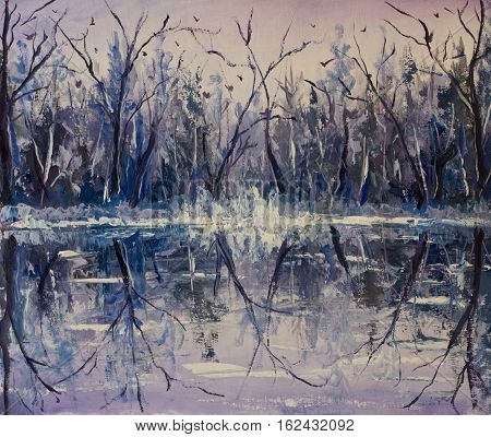 Original oil painting of river in the winter forest reflection of trees in water on canvas. Modern Impressionism Art. Artwork.