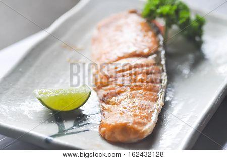 grilled salmon or salmon shio yaki (Japanese food)
