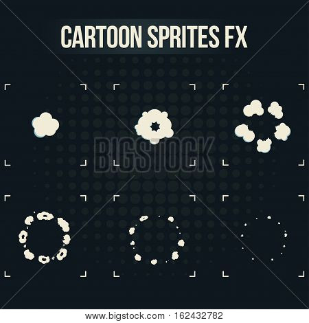 Smoke explosion sprites. Cartoon fx animation frames icons isolated on background. Use in motion graphic, mobile games and other. Vector illustration