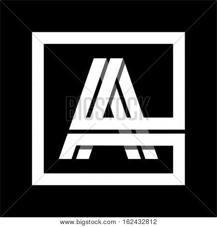 Capital letter A From white stripe enclosed in a square . Overlapping with shadows monogram, logo, emblem. Trendy design.