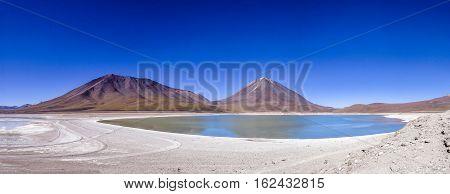 Laguna Verde an Licancabur volcano, Bolivia and Chile