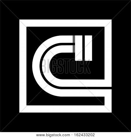 Capital letter C From white stripe enclosed in a square . Overlapping with shadows monogram, logo, emblem. Trendy design.